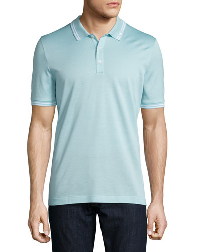 Tape-Tipped Short-Sleeve Polo Shirt, Light Blue