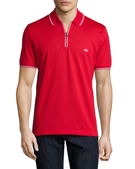 Salvatore Ferragamo Short-Sleeve Zip Polo Shirt, Red