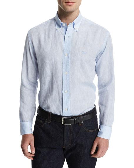 Salvatore Ferragamo Linen Long-Sleeve Sport Shirt, Blue