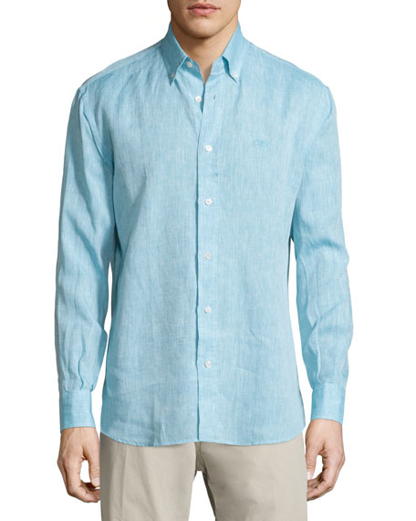 Salvatore Ferragamo Solid Linen Long-Sleeve Sport Shirt,