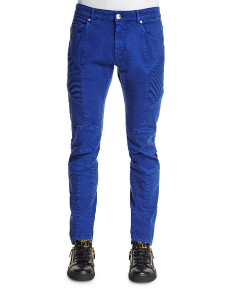 Pierre Balmain Slim-Fit Moto Denim Jeans, Blue
