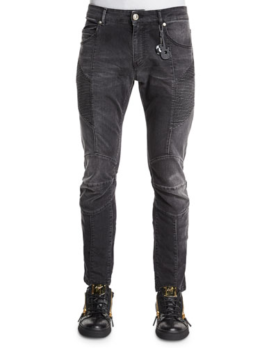 Faded Slim-Fit Moto Denim Jeans, Black
