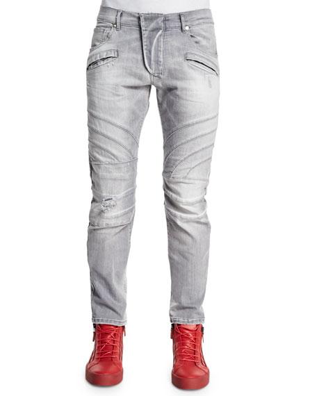 Pierre Balmain Five-Pocket Moto Denim Jeans, Light Gray