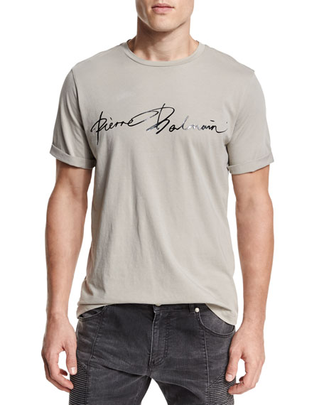 Pierre Balmain Script Logo-Graphic Short-Sleeve T-Shirt, Khaki