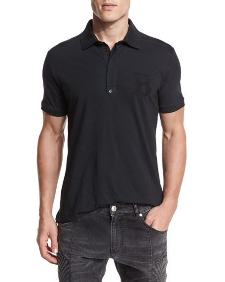 Pierre Balmain Short-Sleeve Jersey Polo Shirt, Black