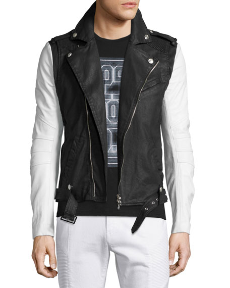 Pierre Balmain Asymmetrical-Zip Moto Jacket, Black/White
