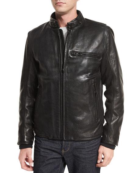 Andrew Marc Chiswick Supple Leather Moto Jacket, Black