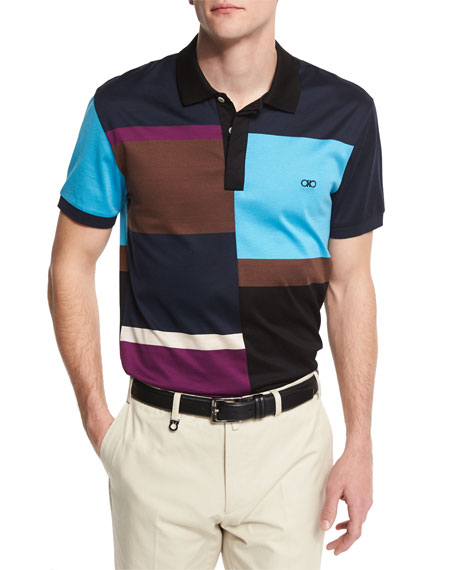 Salvatore Ferragamo Colorblock Short-Sleeve Polo Shirt, Multi