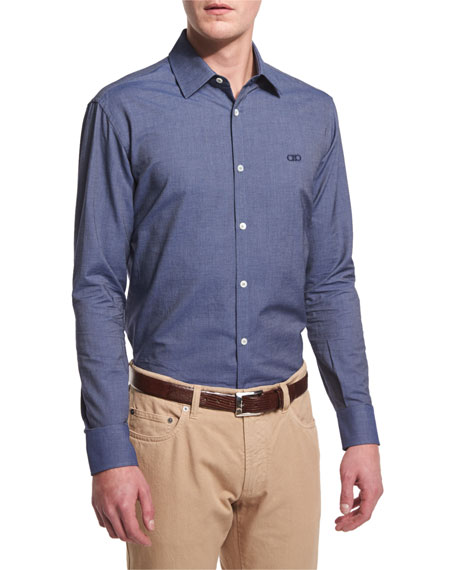 Salvatore Ferragamo Denim-Dyed Gabardine Long-Sleeve Sport Shirt,