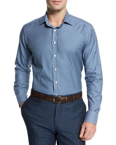 Etro Circle Geometric-Print Woven Sport Shirt, Blue