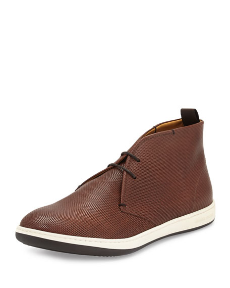 Giorgio Armani Textured Leather Chukka Boot, Brown