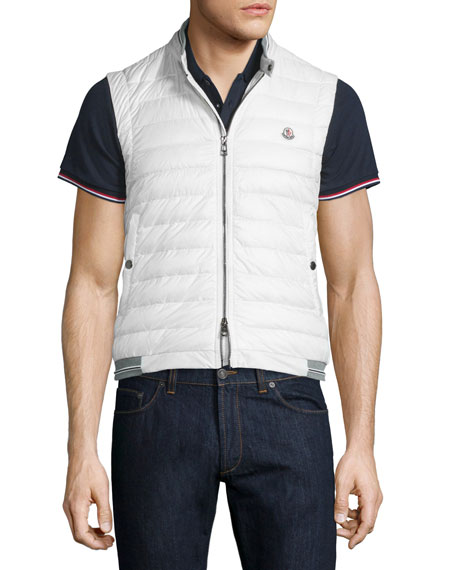 Moncler Nylon Puffer Vest with Striped-Jersey Trim, White