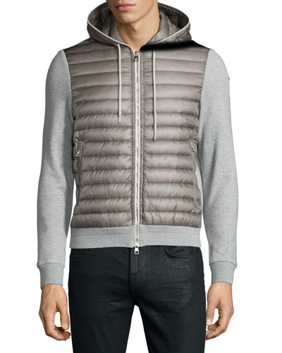 Quilted Hoodie W/Knit Combo, Medium Gray