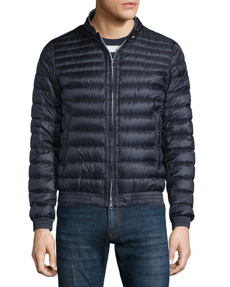 moncler down quilted front ribbed jacket