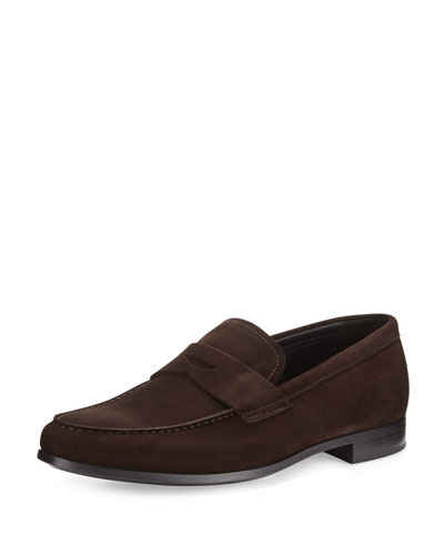 Suede Rubber-Sole Penny Loafer, Brown