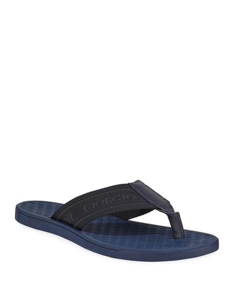 Giorgio Armani Nylon-Web Thong Sandal, Blue