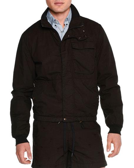 Tomas Maier Long-Sleeve Cotton Bomber Jacket, Black