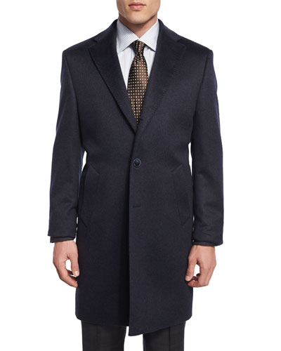 Cashmere Button-Down Long Coat, Charcoal Blue