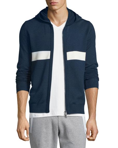 Moncler Horizon-Striped Zip-Up Hoodie, Navy