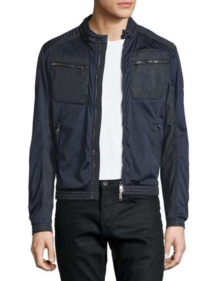 Moncler Mesh Zip-Up Moto Bomber Jacket, Navy