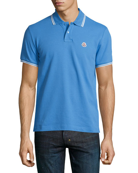 Moncler Twin-Tipped Short-Sleeve Polo Shirt, Blue