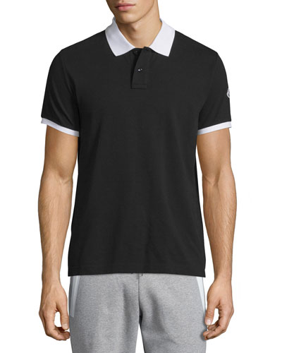 Contrast-Collar Short-Sleeve Polo Shirt, Black