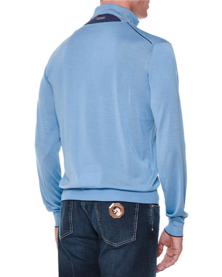 Stefano Ricci Cashmere Half-Zip Pullover Sweater, Light Blue