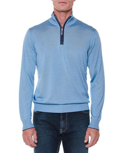 Cashmere Half-Zip Pullover Sweater, Light Blue