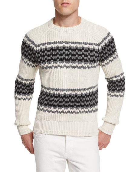 tom ford silk blend striped fisherman sweater ivory. Black Bedroom Furniture Sets. Home Design Ideas