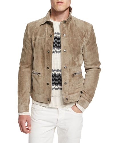 Cashmere Suede Trucker Jacket w/Zip Pockets, Tan