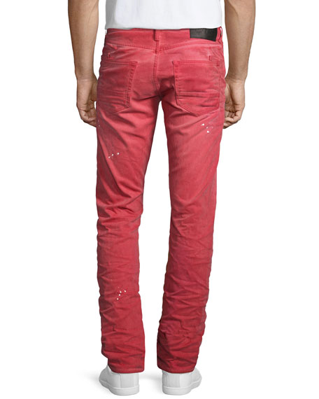 Demon Distressed Denim Slim-Straight Jeans, Red