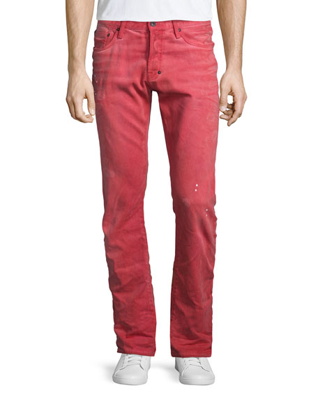 PRPS Demon Distressed Denim Slim-Straight Jeans, Red