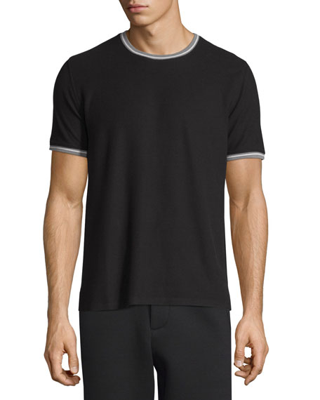 ATM Tipped Short-Sleeve Jersey T-Shirt, White/Black