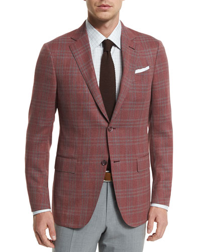Plaid Two-Button Jacket, Red/Gray