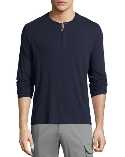 Classic Long-Sleeve Henley Shirt, Navy