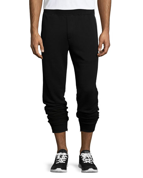 ATM Zip-Cuff Knit Jogger Pants, Black