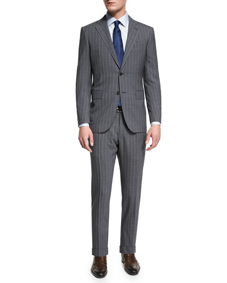 Ermenegildo Zegna Pindot-Stripe Two-Piece Wool Suit, Gray