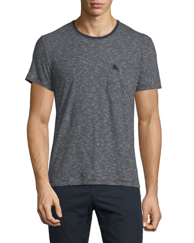 Mini-Stripe Short-Sleeve Tee, Black/White