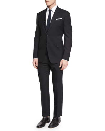 Two-Piece Wool Travel Suit, Black