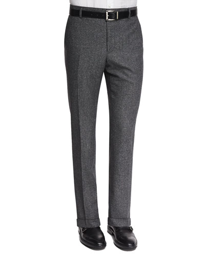Donegal Wool Flat-Front Trousers, Gray