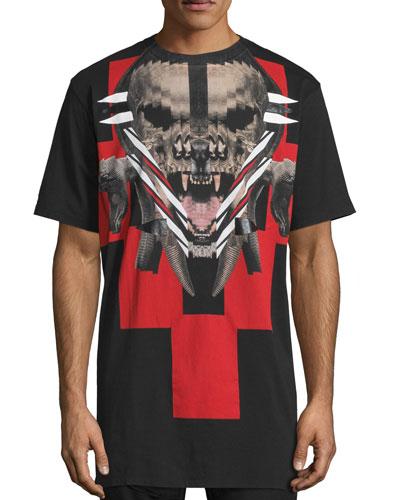 Skull & Animal Graphic Short-Sleeve T-Shirt, Black