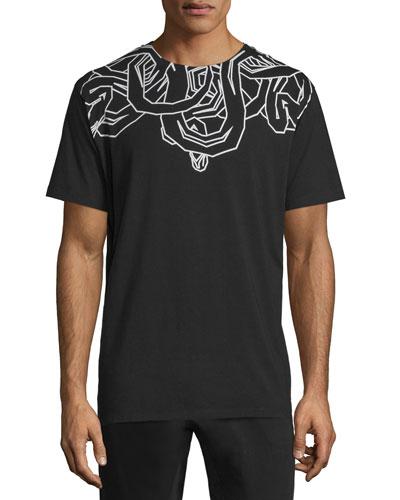 Snake-Outline Short-Sleeve Jersey T-Shirt, Black