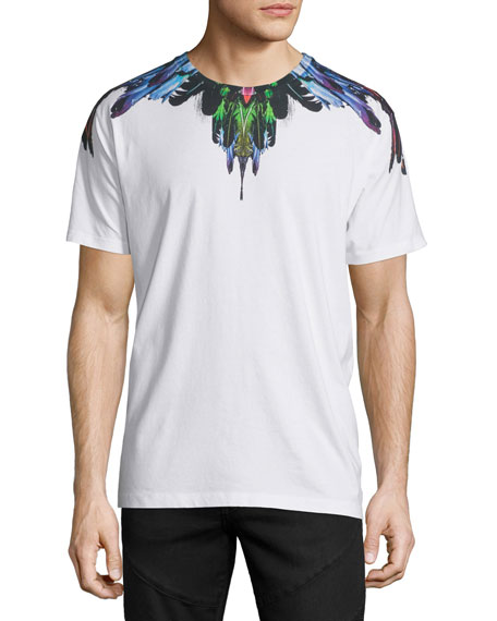 Marcelo Burlon Multicolored Feather Graphic Short-Sleeve T-Shirt, White