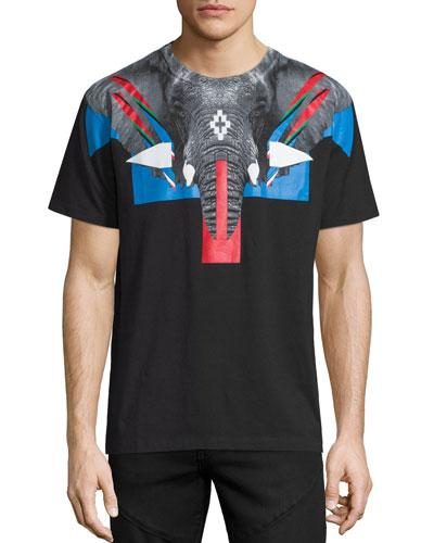 Elephant Head Graphic Short-Sleeve T-Shirt, Black