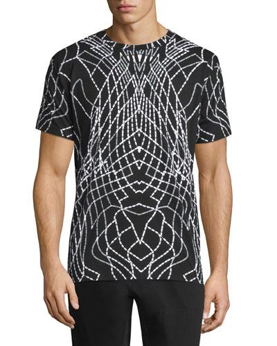 Graphic Line Short-Sleeve Jersey T-Shirt, Black