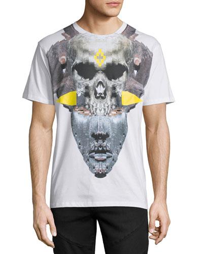 Skull/Mask Graphic T-Shirt, White