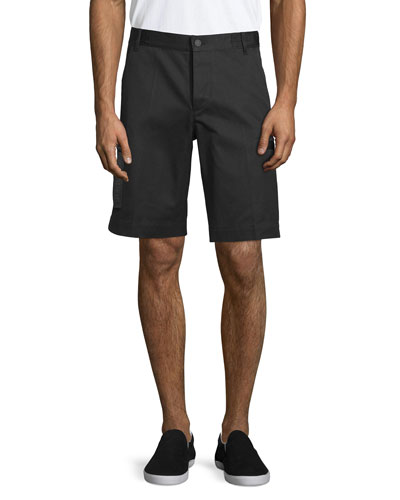 Straight-Leg Shorts with Side Zip Pockets, Black