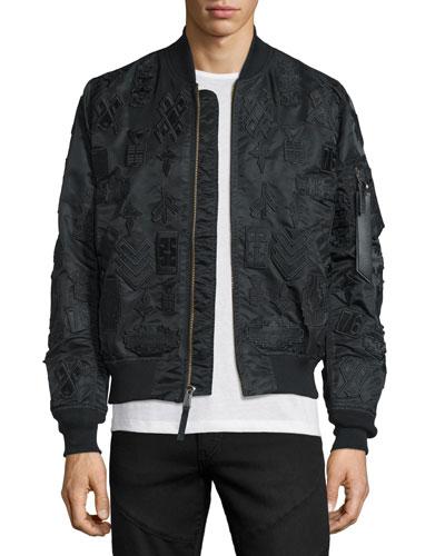 Tonal-Patches Nylon Bomber Jacket, Black