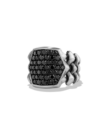 David Yurman Armory Men's Black Diamond Signet Ring