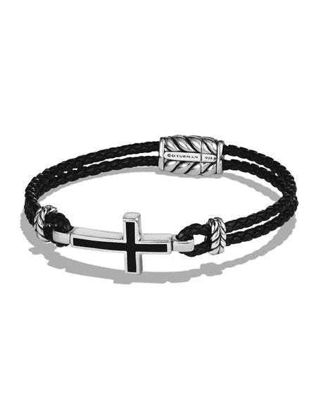 David Yurman Men's Cross Station Woven Leather Bracelet